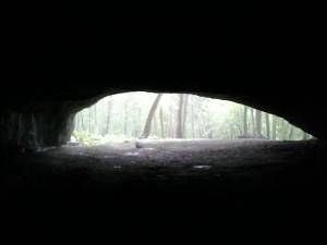pohled ven z jeskyně Pekárna